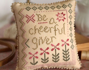 PRE-Order, Counted Cross Stitch Pattern, Cheerful Giver, Inspirational, Scripture, Summer Decor, October House Fiber Arts, PATTERN ONLY