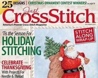 Magazine, Just Cross Stitch, Tis the Season, December 2021, Counted Cross Stitch, Cross Stitch, Ornaments, Samplers, Winter, Santa Claus