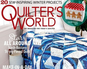 Magazine, Quilter's World, Winter 2020, Christmas Decor, Holiday Quilts, String Quilt, Table Mats, Runners, Star Snowman, Quilt Magazine
