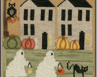 Counted Cross Stitch Pattern, Trick or Treat Lane, Halloween, Black Cat, Halloween Night, Ghost Costume, The Stitching Parlor, PATTERN ONLY