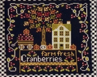 Counted Cross Stitch Pattern, Calendar Crates, November, Thanksgiving, Cranberries, Pumpkins, Stitching Housewives, PATTERN ONLY