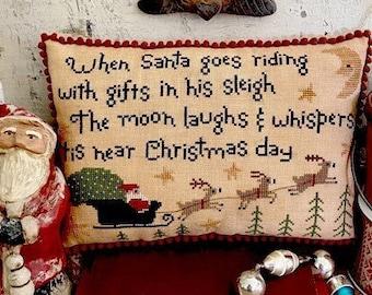 Counted Cross Stitch Pattern, Tis Near Christmas Day, Christmas Decor, Santa, Reindeer, Christmas Eve, Teresa Kogut, PATTERN ONLY