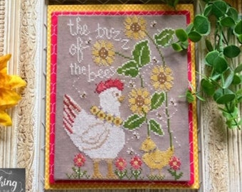 Counted Cross Stitch Pattern, Buzz of the Bees, Chickens, Bees, Sunflowers, Farmhouse Decor, Stitching with the Housewives, PATTERN ONLY
