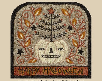 Punch Needle Pattern, Lumina Dreams, Halloween, White Pumpkin, Tree, Primitive Decor, Fall Decor, Teresa Kogut, Punch Needle, PATTERN ONLY
