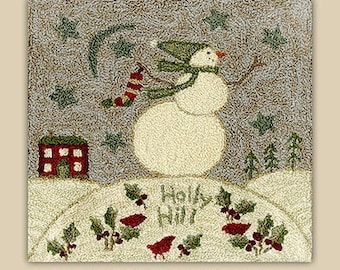 Punch Needle Pattern, Holly Hill, Snowman, Cardinals, Winter Decor, Country Decor, Primitive Decor, Teresa Kogut, Punch Needle, PATTERN ONLY