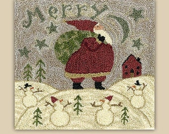 Punch Needle Pattern, Merry Hill, Santa Claus, Snowmen, Winter Decor, Christmas, Primitive Decor, Teresa Kogut, Punch Needle, PATTERN ONLY