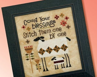 Counted Cross Stitch Pattern, Patchwork Sheep, Sheep, Quilt Stars, Count Your Blessings, Primitive Decor, Heart in Hand, PATTERN ONLY