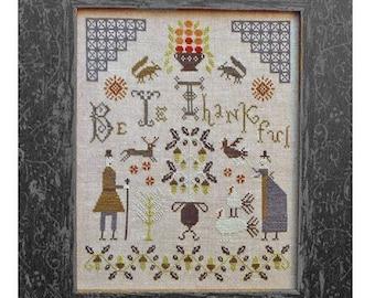 Cross Stitch Pattern, Be Ye Thankful, Cross Stitch Sampler, Thanksgiving Sampler, Pilgrims, Turkeys, Squirrels, Pineberry Lane PATTERN ONLY