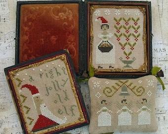 Cross Stitch Pattern, Merry Little Stitches, Cross Stitch Sampler, Christmas Sampler, Christmas Decor, Country, Pineberry Lane PATTERN ONLY