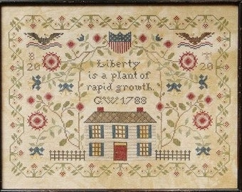 Counted Cross Stitch Pattern, A Plant of Rapid Growth, Patriotic Decor, Americana, Beth Twist, Heartstring Samplery, PATTERN ONLY