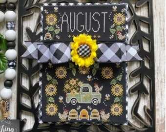Counted Cross Stitch Pattern, Truckin' Along, August, Vintage Truck, Bee Skep, Sunflowers, Stitching with the Housewives, PATTERN ONLY