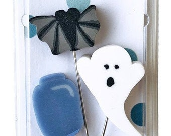 Boo Jar, Pin Mini, Pins, Sewing Pins, Hand Made Pin, Stainless Steel Pin, Halloween Decor, Chalk Full Boo, Just Another Button Company