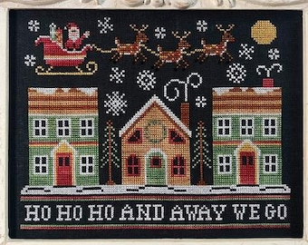 Counted Cross Stitch, Away We Go, Christmas Village, Christmas Decor, Santa, Sled, Reindeer, Snow, Country Cottage Needleworks, PATTERN ONLY