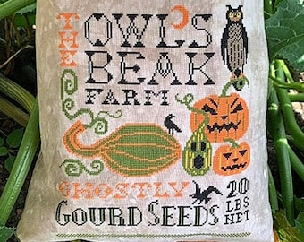 Counted Cross Stitch Pattern, Halloween Feed Sack, Halloween Decor, Fall Decor, Owl, Pumpkin, Carriage House Samplings, PATTERN ONLY