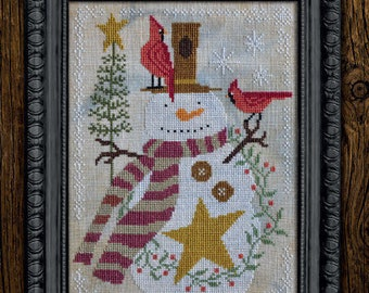 Counted Cross Stitch Pattern, It's Snow Time, A Time For All Seasons, Snowman, Cardinals, Cottage Garden Samplings , PATTERN ONLY