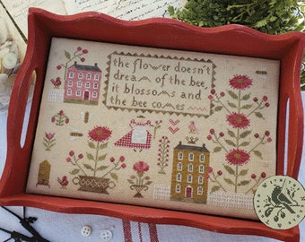 Counted Cross Stitch Pattern, When Flowers Blossom, Cross Stitch, Sewing Tray, Bees, Blossoms, Maiden, Flowers, Brenda Gervais, PATTERN ONLY