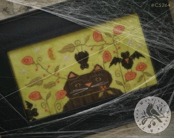Counted Cross Stitch Pattern, Gone Batty, Fall Decor, Autumn, Black Cat, Bats, Primitive Decor, Halloween, Brenda Gervais, PATTERN ONLY