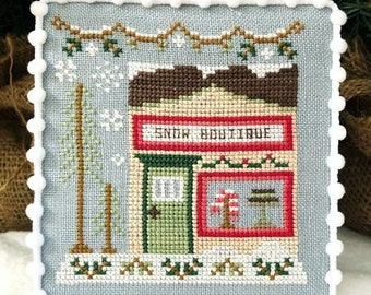 Counted Cross Stitch, Snow Boutique, Boutique Shop, Cottage Decor, Winter Decor, Country Cottage Needleworks, PATTERN ONLY
