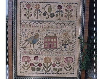 Counted Cross Stitch Pattern, Oh Joyous Day, English Sampler, Antique Reproduction, Ann Dunn 1761, Blackbird Designs, PATTERN ONLY