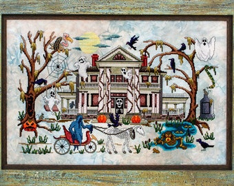 Counted Cross Stitch, Phantom Plantation, Ghosts, Crows, Haunted House, Spider Webs, Pumpkins, Glendon Place, PATTERN ONLY