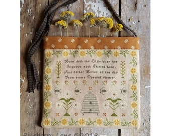 Cross Stitch Pattern, Ode to the Busy Bee, Bee Skep, Floral Vine, Sampler Bag, Isaac Watts Hymn, Pincushion, Pineberry Lane PATTERN ONLY