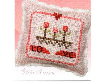 Counted Cross Stitch Pattern, Love Blooms, Valentine's Day, Merry Making Mini, Valentine, Tulips, Heart Pillow, Heart in Hand, PATTERN ONLY