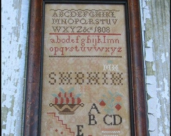 Counted Cross Stitch Pattern, Mary Hawley 1808, American Quaker Sampler, Reproduction Sampler, The Scarlett House, PATTERN ONLY