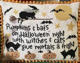 Counted Cross Stitch Pattern, Pumpkins & Bats, Halloween Decor, Witch, Black Cat, Bats, Pumpkins, Teresa Kogut, PATTERN ONLY