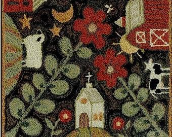 Punch Needle Pattern, Neighborhood, Folk Art Decor, Primitive Decor, Rustic Decor, Teresa Kogut, Punch Needle Embroidery, PATTERN ONLY