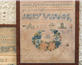 Counted Cross Stitch Pattern, The HF 1837 Sampler, Reproduction Sampler, Beth Twist, Heartstring Samplery, PATTERN Only