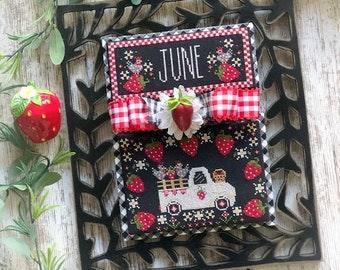 PRE-Order, Truckin' Along, June, Vintage Truck, Strawberries, Chickens, Counted Cross Stitch Pattern, Stitching Housewives, PATTERN ONLY