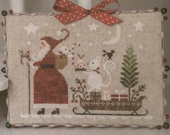 Counted Cross Stitch Pattern, Douce Nuit, Christmas Decor, Santa, Mouse, Candy Delivery, Snowflake, Collection Tralala, TraLaLa PATTERN ONLY
