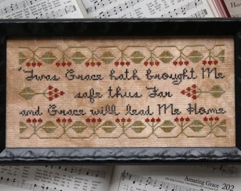 PRE-Order, Counted Cross Stitch Pattern, Sunday Stitches, Amazing Grace, Inspirational, Hymn, Beth Twist, Heartstring Samplery, PATTERN ONLY