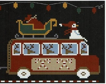 Counted Cross Stitch Pattern, North Pole Express, Hit The Road Series, Christmas Decor, Country Rustic, Twin Peak Primitives, PATTERN ONLY