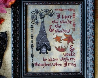 Counted Cross Stitch Pattern, Dracula's Confession, Halloween Decor, Vampire, Sampler, Motifs, Leaves, Lindy Stitches, PATTERN ONLY