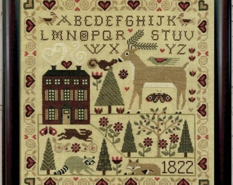 Counted Cross Stitch Pattern, For the Love of Nature, Woodland Decor, Country Decor, Primitive Decor, Teresa Kogut, PATTERN ONLY