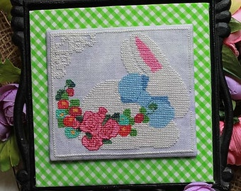 Cross Stitch Pattern, Blue Bow Bunny, Easter Decor, Spring Decor, Easter Bunny, Garden Decor, Bunny Rabbit, Luhu Stitches, PATTERN ONLY