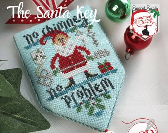 Counted Cross Stitch Pattern, The Santa Key, Secret Santa, Christmas Decor, Santa Claus, Christmas Ornament, Hands On Design, PATTERN ONLY