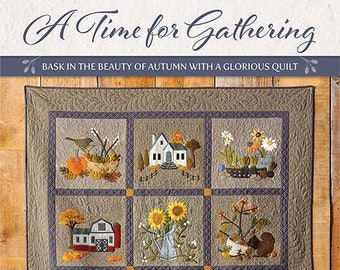 Softcover Book, A Time for Gathering, Wool Applique, Fall Applique, Applique Quilt, Primitive Decor, Rustic Decor, Kathy Cardiff