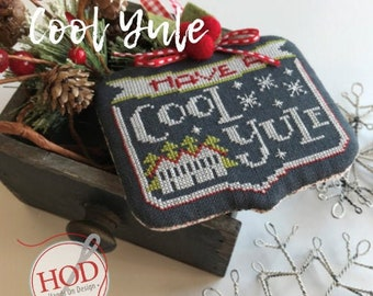 Cool Yule, Counted Cross Stitch Pattern, Christmas Ornament, Chalk Ornament, Farmhouse Decor, Hands On Design, PATTERN or KIT