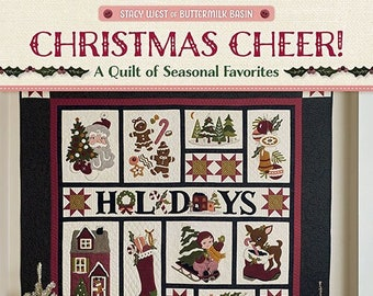Softcover Book, Christmas Cheer, Christmas Quilt, Wool Applique, Wool Quilt, Cotton Quilt, Patterns, Vintage, Folk Art, Stacy West