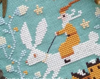 Counted Cross Stitch Pattern, Christmas Hare, Christmas Rabbit, Santa, Christmas Decor, Winter Village, Barbara Ana Designs, PATTERN ONLY