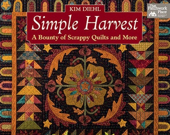 Quilt Book, Simple Harvest, Scrap Quilt, Primitive Decor, Rustic Decor, Home Decor, Quilt Patterns, Fall Quilts, Softcover Book, Kim Diehl