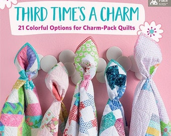 Softcover Book, Third Time's a Charm, Charm Quilts, Table Toppers, Wall Hangings, Baby Quilts, Charm Pack Quilts, Me and My Sister Designs