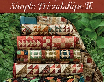 Quilt Book, Simple Friendships II, Primitive Decor, Rustic Decor, Log Cabin, Churn Dash, Quilt Pattern, Softcover Book, Kim Diehl, Jo Morton