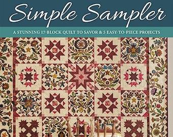 Softcover Book, Simple Sampler, Quilt Book, Sampler Quilt, Applique, Primitive Decor, Rustic Decor, Home Decor, Star Quilt Blocks, Kim Diehl