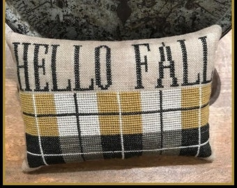 Counted Cross Stitch Pattern, Hello Fall, Cross Stitch Pattern, Fall Pillow Ornament, Plaid Cross Stitch, The Scarlett House, PATTERN ONLY