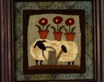 Punch Needle Pattern, Wooly Gardener, Sheep, Primitive Decor, Spring Sheep, Threads That Bind, Punch Needle Embroidery, PATTERN ONLY