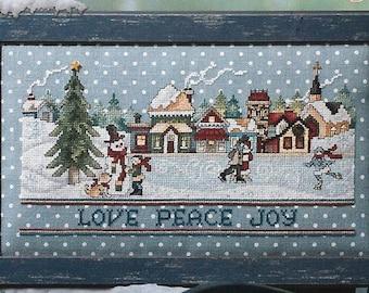 Counted Cross Stitch Pattern, Village, Love, Peace Joy, Skaters, Snow Village, Snowman, Christmas Decor, Stoney Creek, PATTERN ONLY