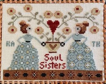 Counted Cross Stitch Pattern, Soul Sisters, Friendship, Folkart, Best Friends, Friendship Gift, Teresa Kogut, PATTERN ONLY